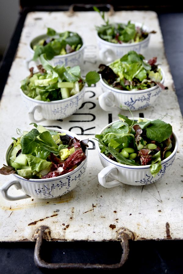 Salad in soup bowl